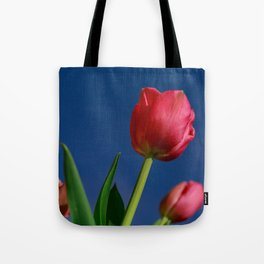 Red Tulips In The Blue Sky Tote Bag