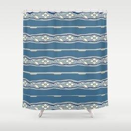 Blue creamy floral textile design Shower Curtain