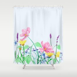 Floral Border - Summer Colours Shower Curtain