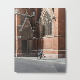 Biker in front of the old cathedral in Osijek, Croatia / City / Bicycle Metal Print