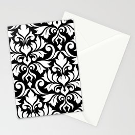 Flourish Damask Art I White on Black Stationery Cards