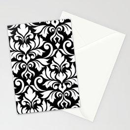 Flourish Damask Art I White on Black Stationery Cards