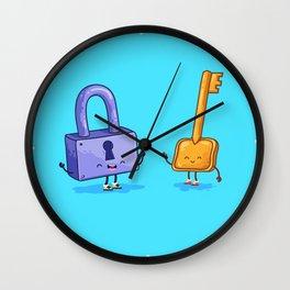 The key and lock (Best friends. Cartoon set) Wall Clock