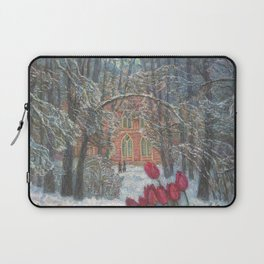 Late Winter Red Tulips in the Snow by the old Woods Houses landscape floral painting Laptop Sleeve