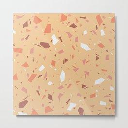 Warm and Peachy Terrazzo - Orange Speckles - Marble Granite Texture Metal Print