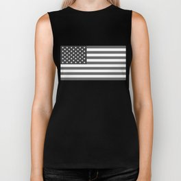 American flag in Gray scale Biker Tank