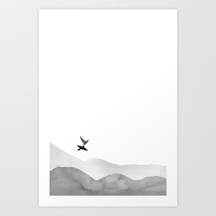 Discover the motif BIRDS AND HILLS by Art by ASolo as a print at TOPPOSTER