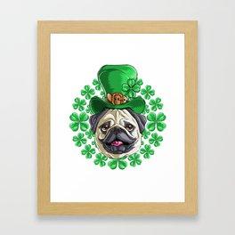 Pug Saint Patricks Day Framed Art Print