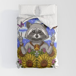 Raccoon Hippie  Comforters