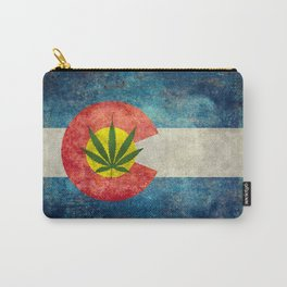 Retro Colorado State flag with leaf - Marijuana leaf that is! Carry-All Pouch