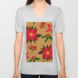 Winter Floral, Christmas Stars Unisex V-Neck