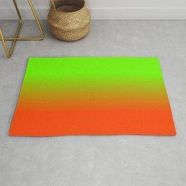 Neon Green and Neon Orange Ombré  Shade Color Fade Rug