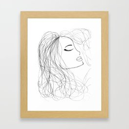 Sketch of a Girl. From my Coloring Book by Jodi Tomer. Curly Hair, Beautiful Girl Framed Art Print