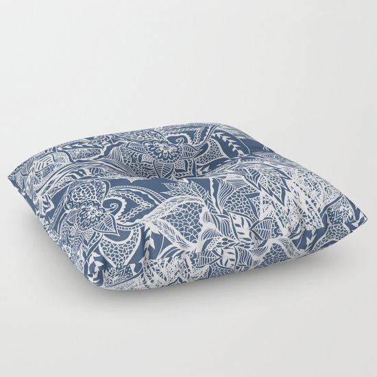 Modern navy blue peony white hand drawn floral watercolor pattern Floor Pillow by Girly Trend ...