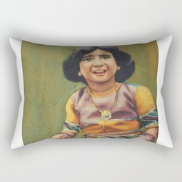 Girl is ready to celebrate birthday with awesome outfit -in watercolor Rectangular Pillow