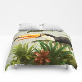 Toco Toucan vintage illustration. Comforters