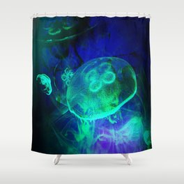 Green Glowing Luminescence of the UFO Jellyfish Shower Curtain