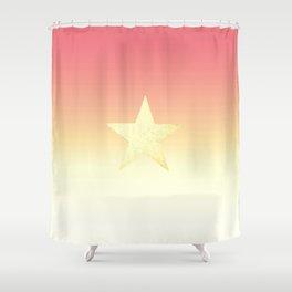 Star  Glitter effect   Gold Orange/Pink Shower Curtain
