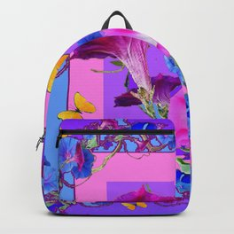 BUTTERFLIES & PURPLE-BLUE MORNING GLORY VINES  PINK VINETTE Backpack