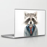 raccoon Laptop & iPad Skins featuring Raccoon by Leslie Evans