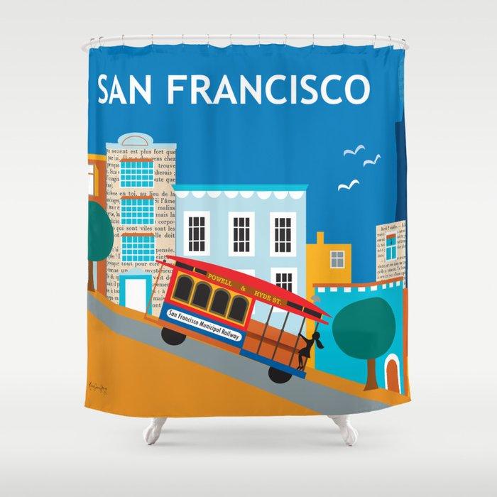 San Francisco, California - Skyline Illustration by Loose Petals Shower Curtain