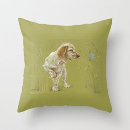 The First Spring Butterfly English Setter Puppy Pastel Drawing on green background Throw Pillow