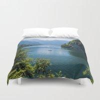germany Duvet Covers featuring Germany, Malerblick, Koenigssee Lake III by UtArt