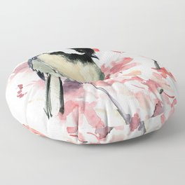 Chickadee and Cherry Blossom Floor Pillow