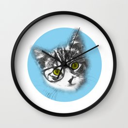 Little Cat with glasses Wall Clock