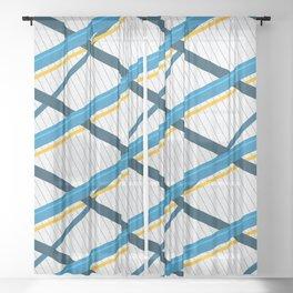 Deco Stripes Blue Sheer Curtain