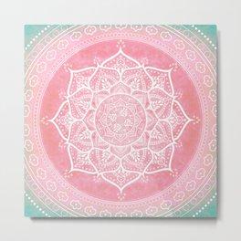 Bohemian Blush Pink & Teal Mandala Metal Print