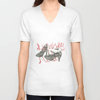 shoes V-neck T-shirts featuring Shoes by Lam Designs