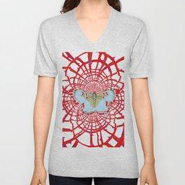ARTISTIC RED-WHITE BUTTERFLY DREAM CATCHER WEB Unisex V-Neck
