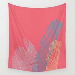 Banana Leaf Trio - Coral Wall Tapestry