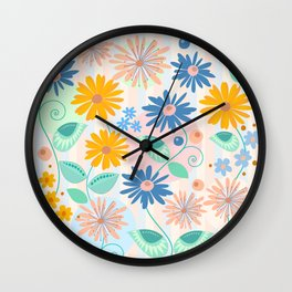 Decorative flowers and leaves Wall Clock