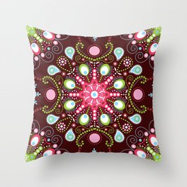 Pointillism mandala | Brown, red and green Throw Pillow