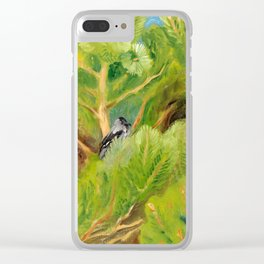 bird seating on green tree Clear iPhone Case