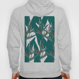 tropical strelitzia flowers leaf sketch, black contour pink coral yellow green. simple ornament Hoody