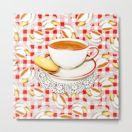 Cup of Tea, a Biscuit and Red Gingham Metal Print