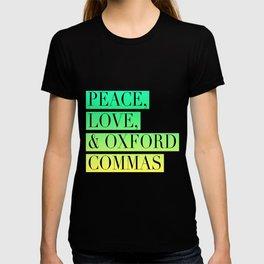 Peace, Love, and Oxford Commas Trinity T-shirt