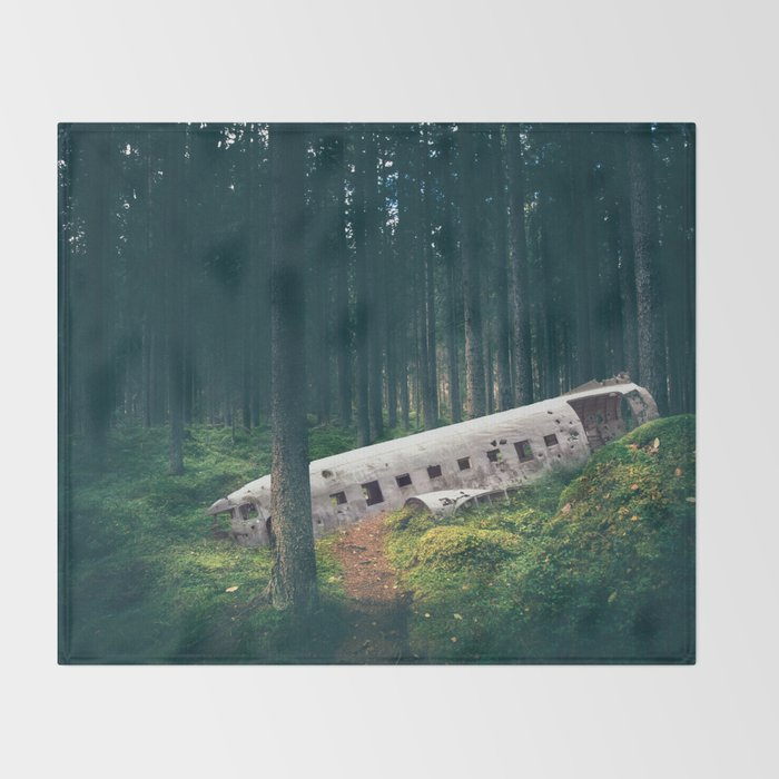 Surreal Iceland Plane Crash-Sólheimasandur Plane Crash in a Swedish Forest Throw Blanket
