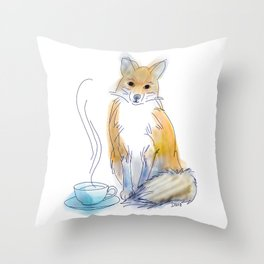 Foxy Tea Throw Pillow