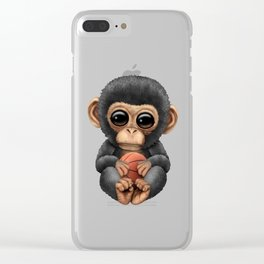 Cute Baby Chimp Playing With Basketball Clear iPhone Case