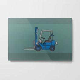 Blue fork-lift truck Metal Print