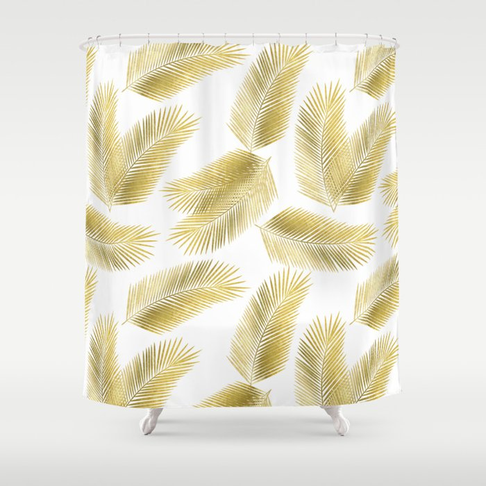 Gold Tropical Palm Leaves Pattern Shower Curtain By Tanyalegere