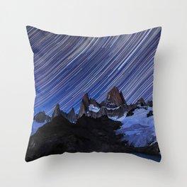 Fitz Roy Star Trails Throw Pillow