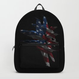 US Military Fighter Attack Jets with American Flag Overlay Backpack
