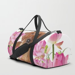 Dog in Field of Lotos Flower Duffle Bag