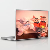 pixies Laptop & iPad Skins featuring Pixies gathers with lamb and mouse by Vintage  Cuteness