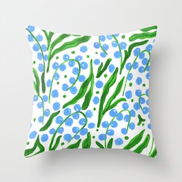 Water Droplets and Leaves Throw Pillow